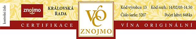 Královská řada VOC Znojmo - proužek na láhev