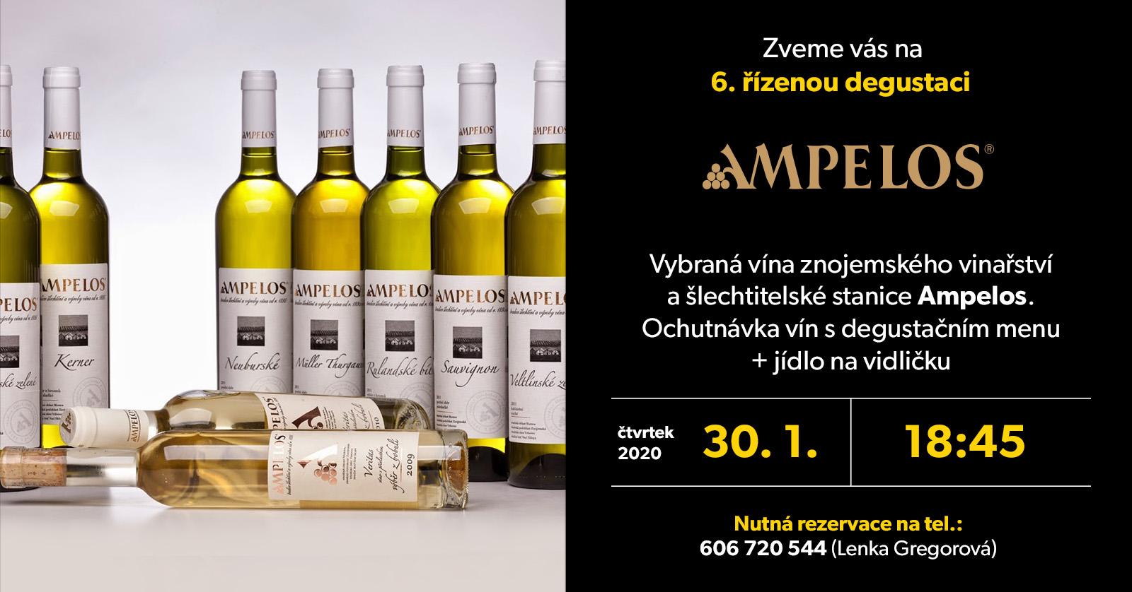 Degustace vín z vinařství AMPELOS proběhne ve čtvrtek 30.1.2020